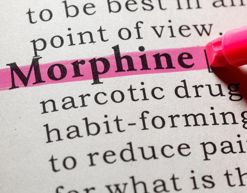 morphine highlighted in book